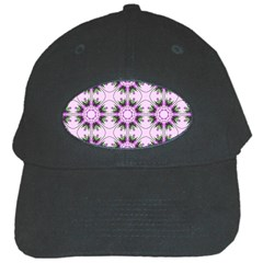 Pretty Pink Floral Purple Seamless Wallpaper Background Black Cap