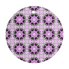 Pretty Pink Floral Purple Seamless Wallpaper Background Ornament (Round)