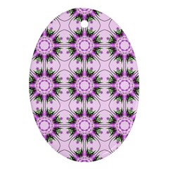 Pretty Pink Floral Purple Seamless Wallpaper Background Ornament (Oval)