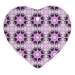 Pretty Pink Floral Purple Seamless Wallpaper Background Ornament (heart)