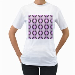 Pretty Pink Floral Purple Seamless Wallpaper Background Women s T-Shirt (White) (Two Sided)