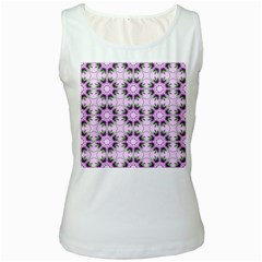 Pretty Pink Floral Purple Seamless Wallpaper Background Women s White Tank Top
