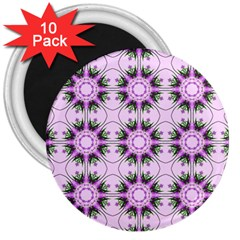 Pretty Pink Floral Purple Seamless Wallpaper Background 3  Magnets (10 pack)