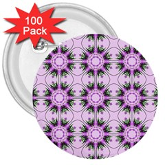 Pretty Pink Floral Purple Seamless Wallpaper Background 3  Buttons (100 Pack)