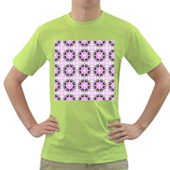 Pretty Pink Floral Purple Seamless Wallpaper Background Green T-Shirt