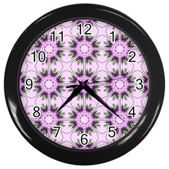 Pretty Pink Floral Purple Seamless Wallpaper Background Wall Clocks (Black)