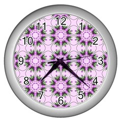 Pretty Pink Floral Purple Seamless Wallpaper Background Wall Clocks (Silver)