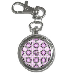 Pretty Pink Floral Purple Seamless Wallpaper Background Key Chain Watches