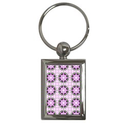 Pretty Pink Floral Purple Seamless Wallpaper Background Key Chains (Rectangle)
