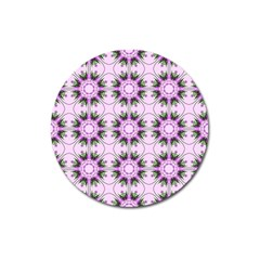 Pretty Pink Floral Purple Seamless Wallpaper Background Magnet 3  (round)