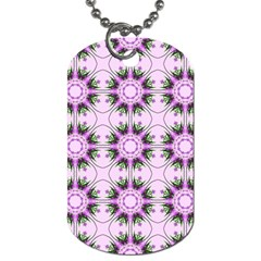 Pretty Pink Floral Purple Seamless Wallpaper Background Dog Tag (two Sides)