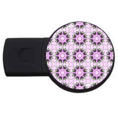 Pretty Pink Floral Purple Seamless Wallpaper Background USB Flash Drive Round (1 GB)