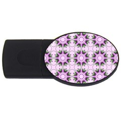 Pretty Pink Floral Purple Seamless Wallpaper Background USB Flash Drive Oval (1 GB)