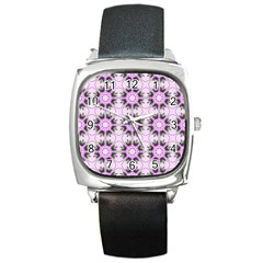 Pretty Pink Floral Purple Seamless Wallpaper Background Square Metal Watch