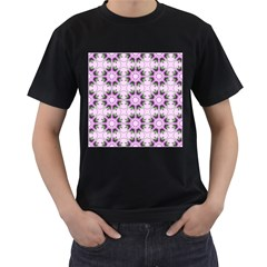 Pretty Pink Floral Purple Seamless Wallpaper Background Men s T-Shirt (Black) (Two Sided)