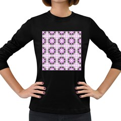 Pretty Pink Floral Purple Seamless Wallpaper Background Women s Long Sleeve Dark T Shirts