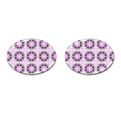 Pretty Pink Floral Purple Seamless Wallpaper Background Cufflinks (Oval)