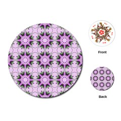 Pretty Pink Floral Purple Seamless Wallpaper Background Playing Cards (round)