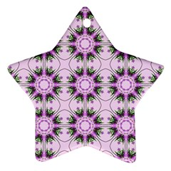 Pretty Pink Floral Purple Seamless Wallpaper Background Star Ornament (two Sides)
