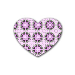 Pretty Pink Floral Purple Seamless Wallpaper Background Rubber Coaster (Heart)