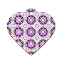 Pretty Pink Floral Purple Seamless Wallpaper Background Dog Tag Heart (Two Sides)