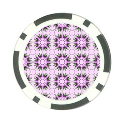 Pretty Pink Floral Purple Seamless Wallpaper Background Poker Chip Card Guard
