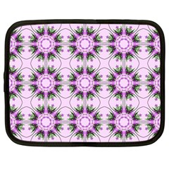 Pretty Pink Floral Purple Seamless Wallpaper Background Netbook Case (Large)