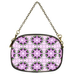 Pretty Pink Floral Purple Seamless Wallpaper Background Chain Purses (One Side)