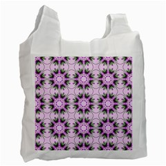 Pretty Pink Floral Purple Seamless Wallpaper Background Recycle Bag (One Side)