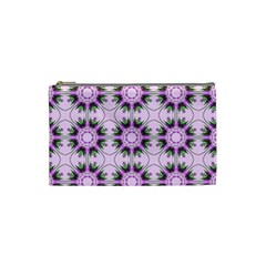 Pretty Pink Floral Purple Seamless Wallpaper Background Cosmetic Bag (small)
