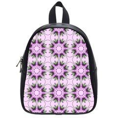 Pretty Pink Floral Purple Seamless Wallpaper Background School Bags (Small)