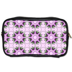 Pretty Pink Floral Purple Seamless Wallpaper Background Toiletries Bags 2-Side