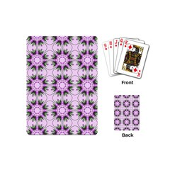 Pretty Pink Floral Purple Seamless Wallpaper Background Playing Cards (Mini)