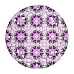 Pretty Pink Floral Purple Seamless Wallpaper Background Ornament (round Filigree)