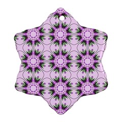 Pretty Pink Floral Purple Seamless Wallpaper Background Snowflake Ornament (two Sides)