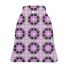 Pretty Pink Floral Purple Seamless Wallpaper Background Bell Ornament (two Sides)