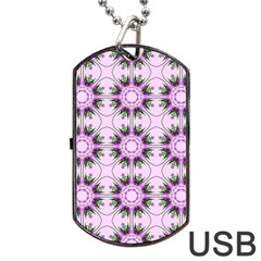 Pretty Pink Floral Purple Seamless Wallpaper Background Dog Tag Usb Flash (two Sides)