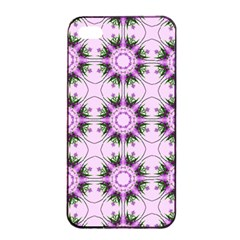 Pretty Pink Floral Purple Seamless Wallpaper Background Apple Iphone 4/4s Seamless Case (black)