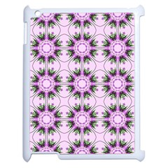 Pretty Pink Floral Purple Seamless Wallpaper Background Apple iPad 2 Case (White)