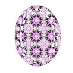 Pretty Pink Floral Purple Seamless Wallpaper Background Oval Filigree Ornament (two Sides)