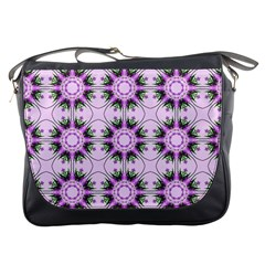 Pretty Pink Floral Purple Seamless Wallpaper Background Messenger Bags