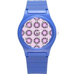 Pretty Pink Floral Purple Seamless Wallpaper Background Round Plastic Sport Watch (S) Front