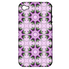 Pretty Pink Floral Purple Seamless Wallpaper Background Apple iPhone 4/4S Hardshell Case (PC+Silicone)
