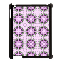 Pretty Pink Floral Purple Seamless Wallpaper Background Apple Ipad 3/4 Case (black)