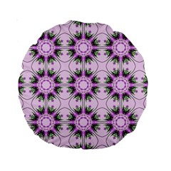 Pretty Pink Floral Purple Seamless Wallpaper Background Standard 15  Premium Round Cushions