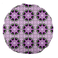 Pretty Pink Floral Purple Seamless Wallpaper Background Large 18  Premium Round Cushions