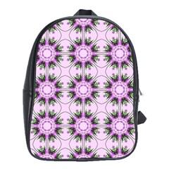 Pretty Pink Floral Purple Seamless Wallpaper Background School Bags (XL)