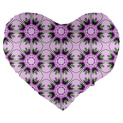 Pretty Pink Floral Purple Seamless Wallpaper Background Large 19  Premium Heart Shape Cushions