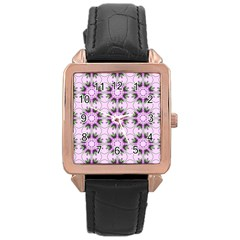 Pretty Pink Floral Purple Seamless Wallpaper Background Rose Gold Leather Watch