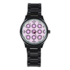 Pretty Pink Floral Purple Seamless Wallpaper Background Stainless Steel Round Watch